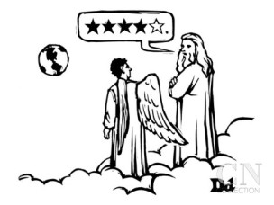 drew-dernavich-god-to-an-angel-on-a-cloud-overlooking-earth-god-s-speech-bubble-contains-new-yorker-cartoon